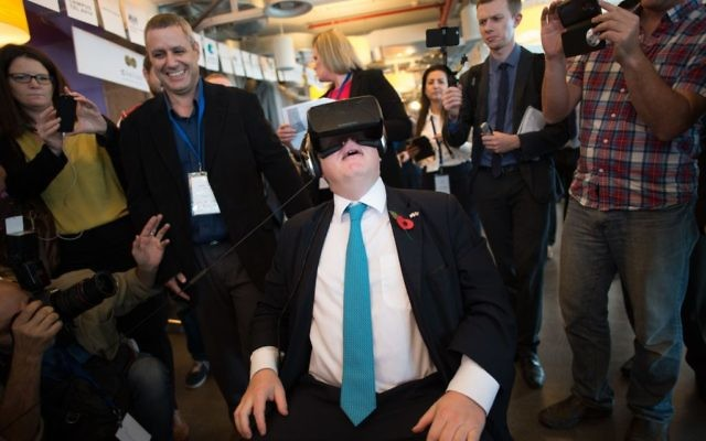 Ex-Mayor of London Boris Johnson tries on an Oculus virtual reality headset at Google's offices in Tel Aviv, Israel, at the start of a four day trade visit to the region in 2015.