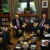 David Quarrey, Boris Johnson, Reuven Rivlin, and Mark Regev during discussions at the president's residence