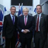 Boris Johnson (centre) with Mark Regev and David Quarrey