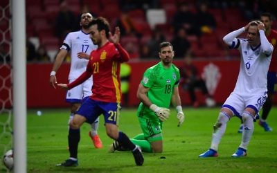 Spain score their second goal on the stroke of half-time