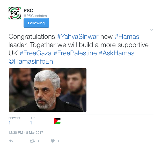 The Palestine Solidarity Campaign's tweet