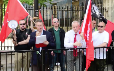 Far right extremist Jeremy Bedford-Turner addressing a neo-Nazi rally in Whitehall