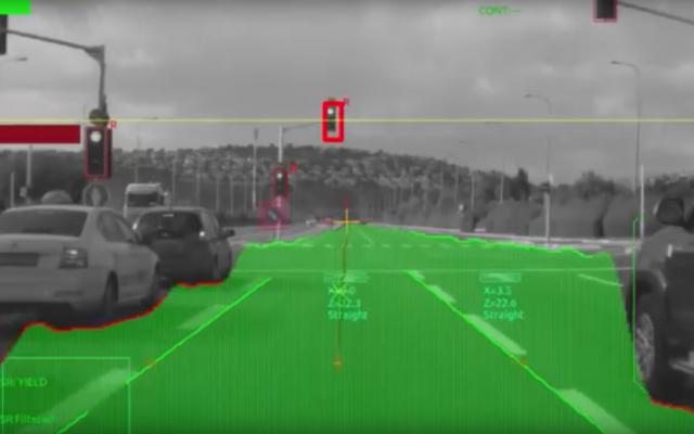 Screenshot from a Mobileye video showcasing its driverless car