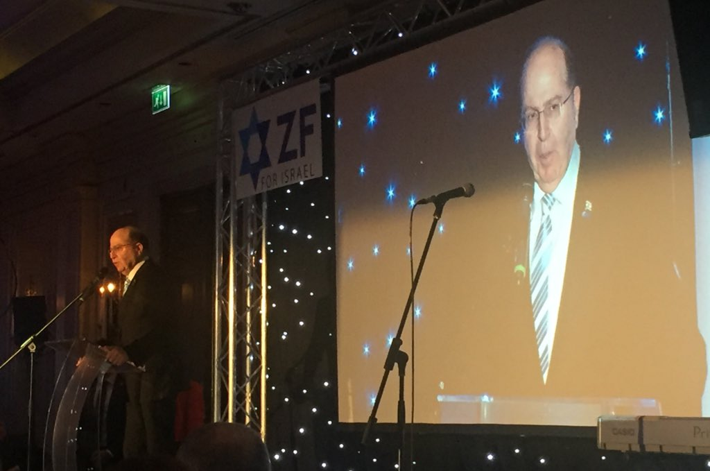 Moshe Ya'alon speaking at the ZF annual dinner (Credit: Yiftah Curiel on Twitter)