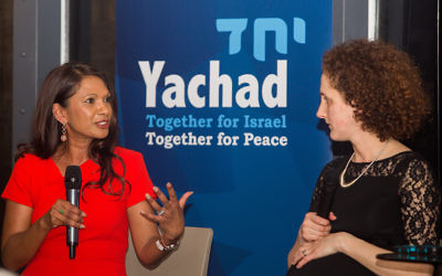 Gina Miller (left) with Hannah Weisfeld of Yachad (right)   Picture by Michael Crabtree