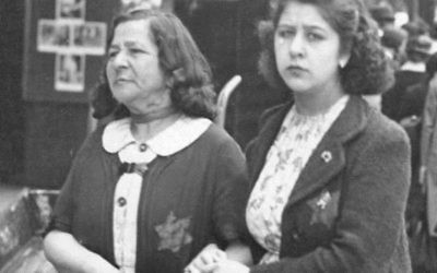 Two Jewish women in occupied Paris wearing the yellow Star of David badge in June 1942, a few weeks before the mass arrest