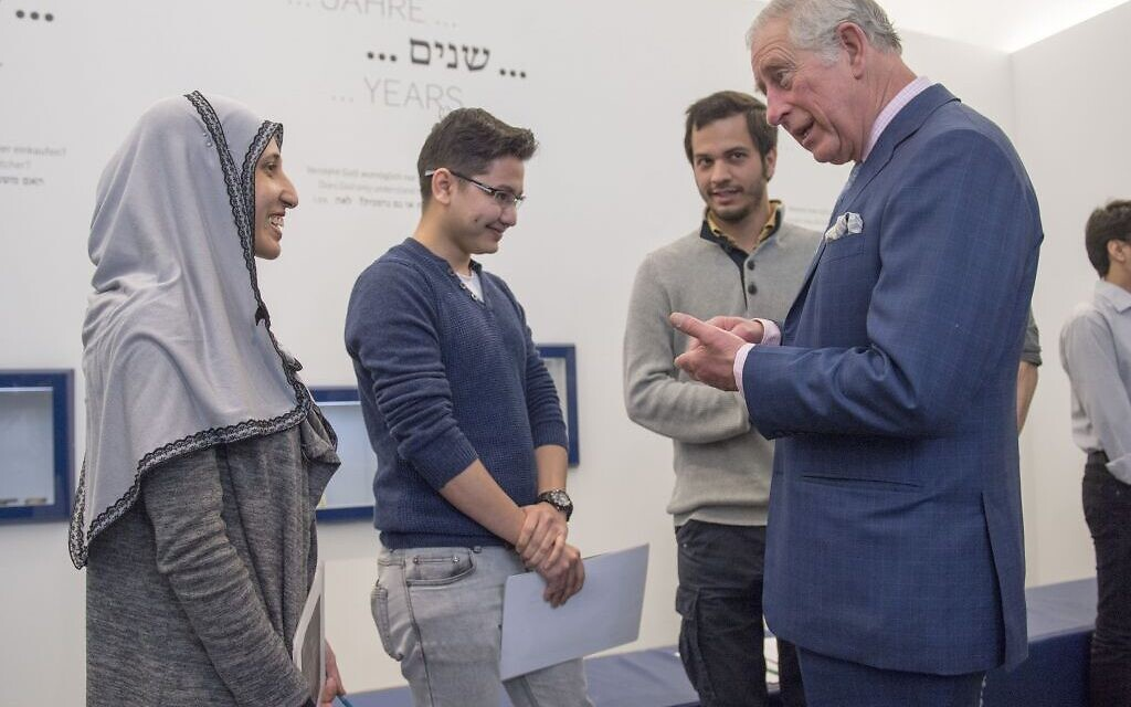 The Prince of Wales meets refugees during his visit to The Jewish Museum in Vienna, Austria on the ninth day of the his European tour.   Photo credit: Arthur Edwards/The Sun/PA Wire