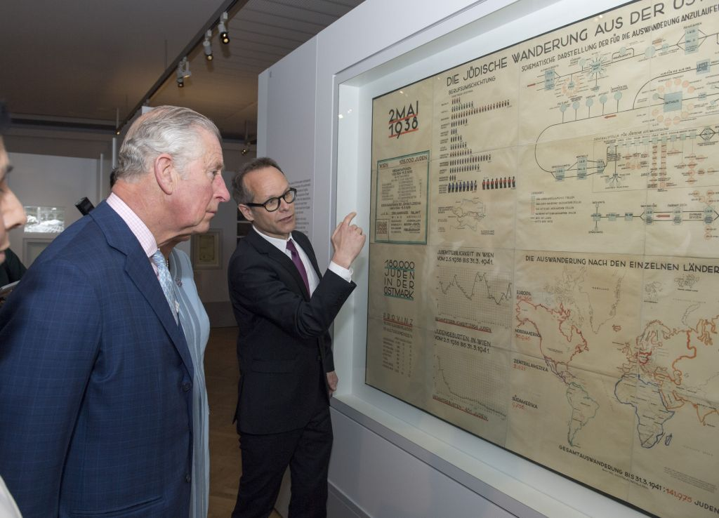 The Prince of Wales is shown Adolph Eichman's map during his visit to The Jewish Museum in Vienna, Austria on the ninth day of the his European tour. Photo credit: Arthur Edwards/The Sun/PA Wire