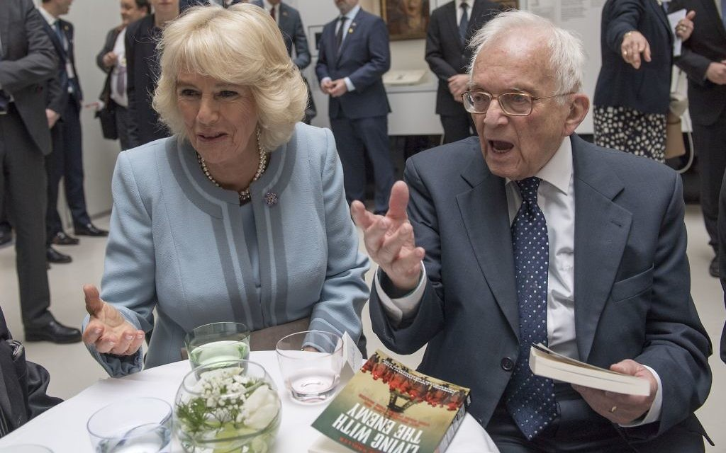 Auschwitz holocaust survivor Freddie Knoller speaks to the Duchess of Cornwall during her visit to The Jewish Museum in Vienna, Austria on the ninth day of the Prince of Wales's European tour. PRESS ASSOCIATION Photo. Picture date: Thursday April 6, 2017. See PA story ROYAL Tour. Photo credit should read: Arthur Edwards/The Sun/PA Wire