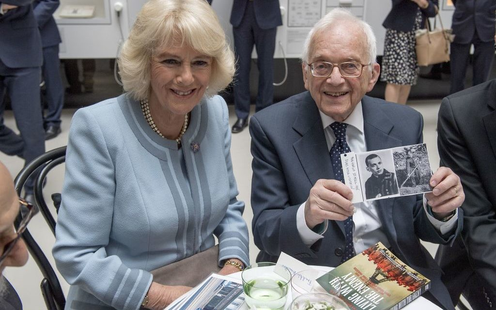 Auschwitz holocaust survivor Freddie Knoller speaks to the Duchess of Cornwall during her visit to The Jewish Museum in Vienna, Austria on the ninth day of the Prince of Wales's European tour.   Photo credit: Arthur Edwards/The Sun/PA Wire