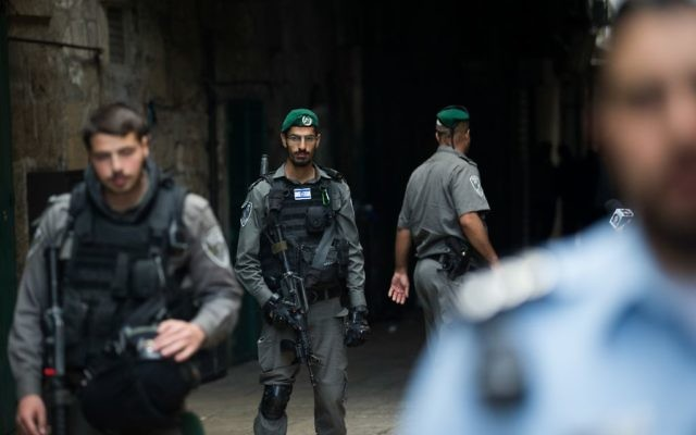 Israeli security forces in Jerusalem's Old City after a stabbing attack in which three people were injured and the assailant was shot by Israeli police, in April, 2017.   Credit:  JINIPIX