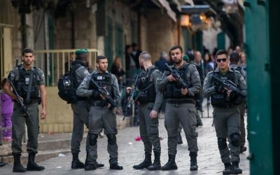 Israeli security forces in Jerusalem's Old City after a stabbing attack in which three people were injured and the assailant was shot by Israeli police, on April 1, 2017.   Credit:  JINIPIX