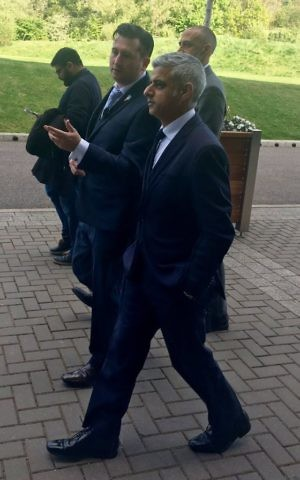 Sadiq Khan arrives at Sunday's memorial event with organiser Neil Martin.