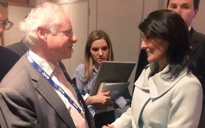 Board of Deputies president Jonathan Arkush meets with Nikki Haley