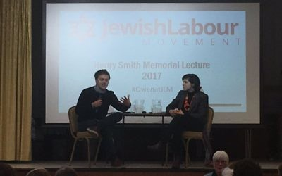 Owen Jones being interviewed by Sarah Sackman at the JLM event
