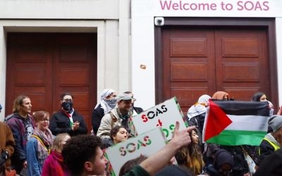 Anti-Israel demonstrators at SOAS