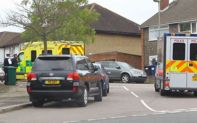 Police attend the scene of the assault (ISO photography)