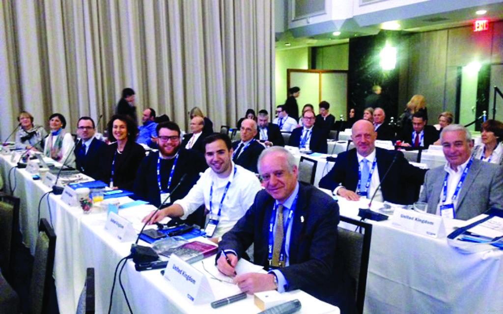 The British delegation at the WJC plenary, led by Board of Deputies president Jonathan Arkush