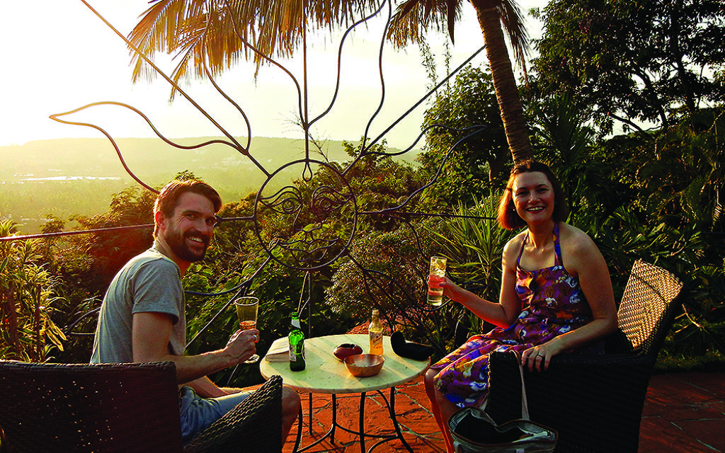 Keeley with husband Joe at the Nilaya Hermitage