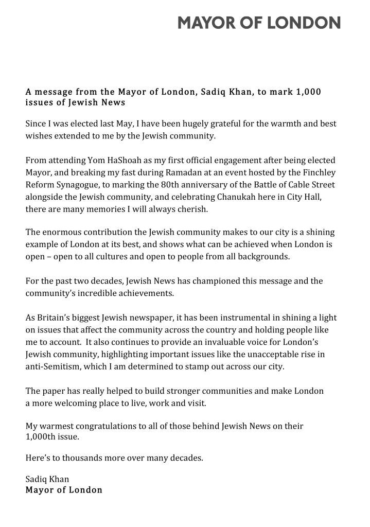 MoL message for Jewish News 1,000th issue