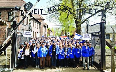 Marching from Auschwitz to Bikenau on March of the Living