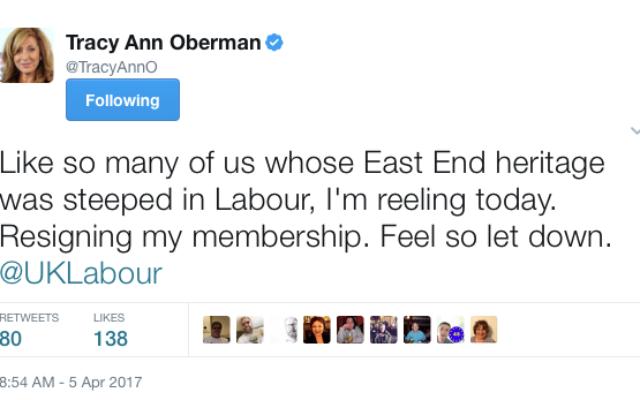 Tracey Anne-Oberman tweet following the Ken Livingstone verdict