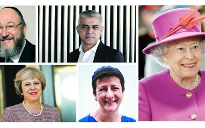 Top L-R: Chief Rabbi Ephraim Mirvis, Mayor of London Sadiq Khan. Bottom: Prime Minister Theresa May, senior rabbi, Movement for Reform Judaism Laura Janner-Klausner. On the right, Her Majesty the Queen.