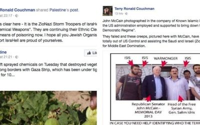 Terry Couchman posts using the term ZioNazi