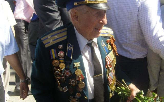 Boris Steckler at a Victory Day celebration was in Rivne, Ukraine, in 2013. The Soviet army veteran is being investigated for the killing, in 1952, of the Ukrainian nationalist Nil Khasevych. Credit: YouTube screenshot via the Guardian)