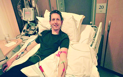 David Gould saving a life by donating stem cells