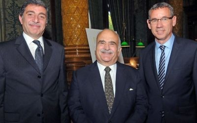 Prince El Hassan bin Talal (centre) with Israeli Ambassador to the UK Mark Regev (right) and the Jordanian enjoy to London, Mazen Homoud (left)  Photo credit: John Rifkin