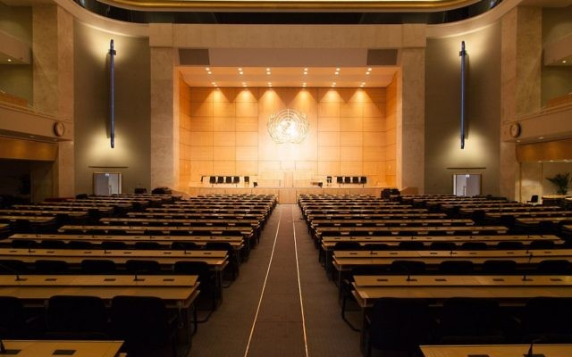 The World Health Assembly meets in the assembly hall of the Palace of Nations, in Geneva (Switzerland).