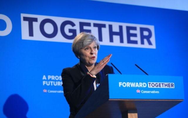 Theresa May launching the Conservative Manifesto