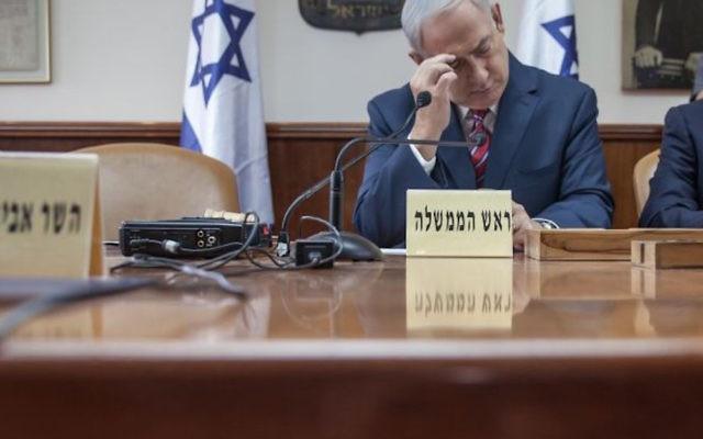 Israeli Prime minister Benjamin Netanyahu leads the weekly cabinet meeting at the Prime Minister office in Jerusalem o  Photo credit: Emil Salman/POOL via JINIPIX