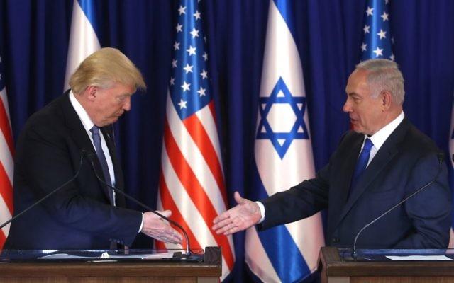 Israeli prime minister Benjamin Netanyahu and US president Donald Trump give join press statements at PM Netanyahu's residence in Jerusalem   Photo by Marc Israel Sellem/POOL via JINIPIX