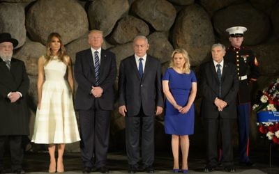 President Donald Trump and First Lady Melania Trump at Yad Vashem to honor the victims of the Holocaust, in Jerusalem  Photo by: Amos Ben Gershon/GPO via JINIPIX