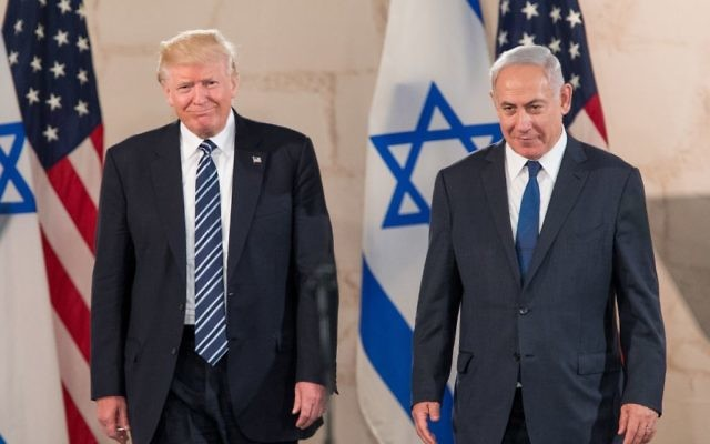 US president Donald Trump and Israeli Prime Minister Benjamin Netanyahu in Jerusalem b May, 2017.   Photo by: JINIPIX