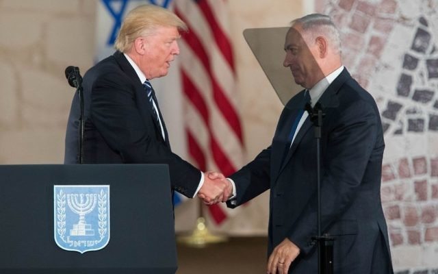 US president Donald Trump and Israeli Prime Minister Benjamin Netanyahu in May 23, 2017. Photo by: JINIPIX