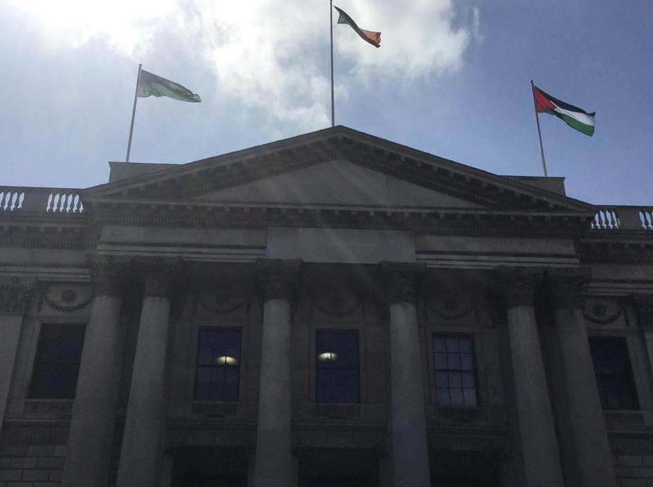 The Palestinian flag flying above the city hall