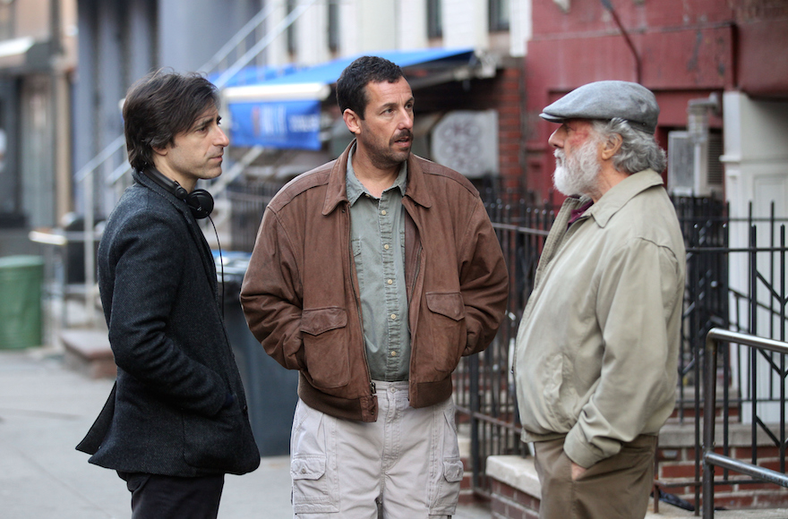 """NEW YORK, NY - MARCH 08: Noah Baumbach, Dustin Hoffman, Adam Sandler playing Father & Son filming Noah Baumbach's """"The Meyerowitz Stories""""on March 8, 2016 in New York City. (Photo by Steve Sands/GC Images)"""