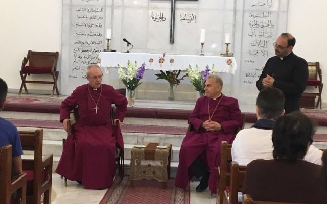 Archbishop with Iraqi Christians in Jordan (Credit: Justin Welby on Twitter)