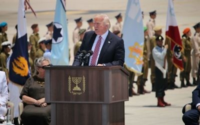 Donald Trump addressing guests on the tarmac, after landing in Israel on Monday morning