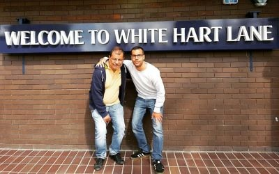 Final photo outside White Hart Lane after 25 years  with Dad
