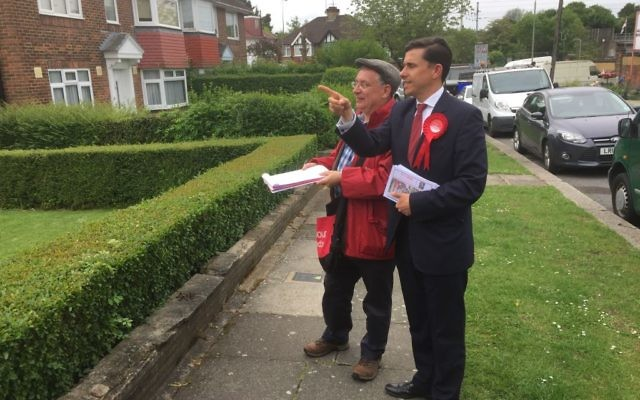 Mike Katz in the campaign trail, right, alongside London Assembly member Andrew Dismore