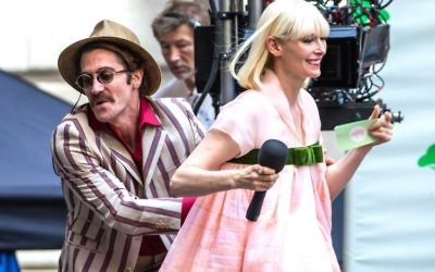 Jake Gyllenhaal with Tilda Swinton in Okja