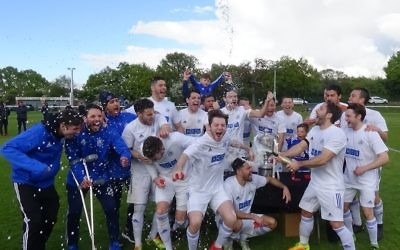 London Lions celebrate winning the Aubrey Cup - to complete an historic league and cup treble