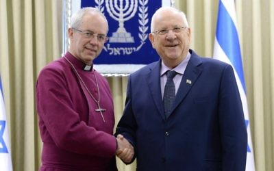 Pres. Rivlin & Archbishop of Canterbury Welby  (photo credit: Mark Neiman (GPO))