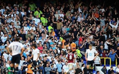 Spurs and West Ham fans during the London derby