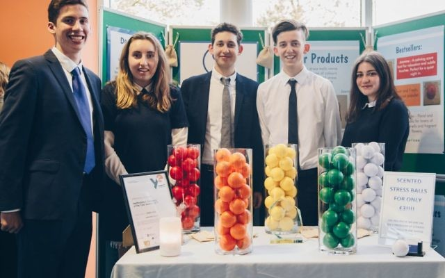 Presenters of the product,  Max Misrahi, Gemma Black, Teddy Vandermolen,  Gavriel Bauernfreund and Sabrina Miller, pose with their coloured scented stress balls: