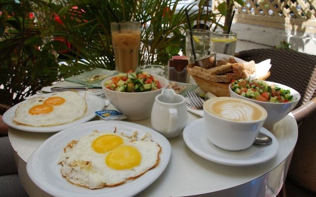 Israeli breakfast served at Café Café